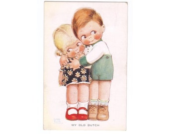 Mabel Lucie Attwell Vintage 1920s Postcard Little Boy Girl Hug Hugging Friends Old Dutch Love Romance Sweet Cute Retro British Kitsch Loving