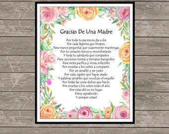 A MOTHER'S THANK YOU in Spanish , Childcare Thank You-Teacher Gift-Nanny Gift, Babysitter Gift, Teacher Thank You, Daycare Thank You-8x10