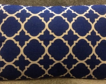 Blue moroccan double-sided cushion cover 30x50cm rectangle bolster linen fabric