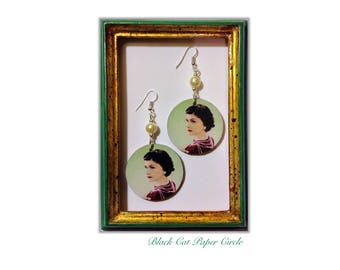 Coco Chanel earrings handcrafted wooden handmade decoupage