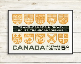 coworker gifts, cubicle decor, dorm decor men, man cave sign ideas, canada poster decor, travel, entryway print, Trans-Canada Highway poster