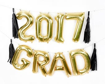 "2017 GRAD Letter Balloons | 16"" Gold Letter Balloons 