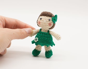Miniature doll, green dolly, baby doll gift, amigurumi doll,  handmade girl's present, little crochet doll, shower gift, nursery decor