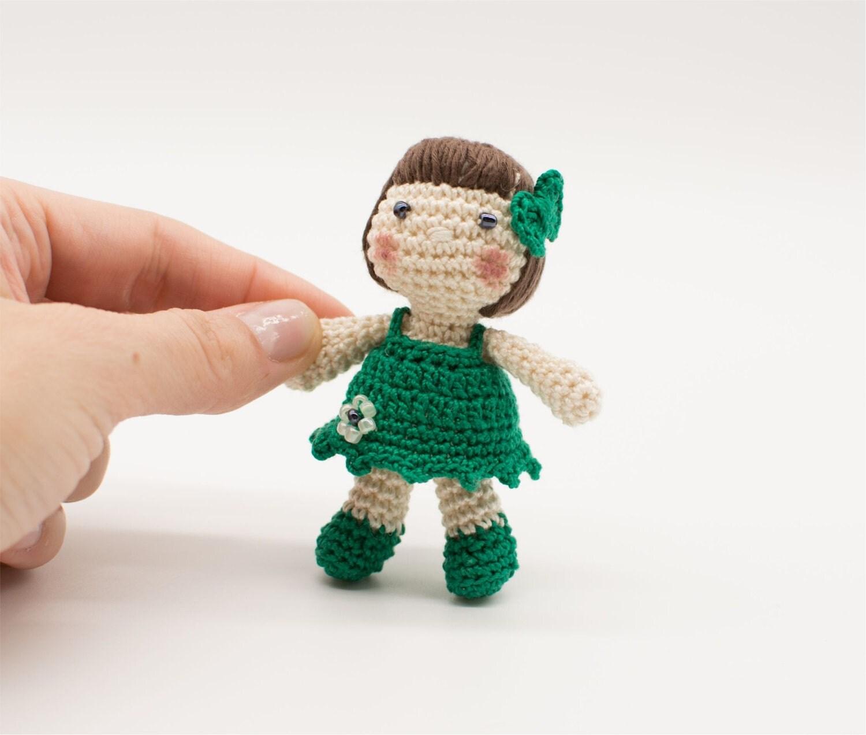 Miniature Amigurumi Doll : Miniature doll green dolly baby gift amigurumi