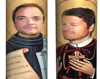 "Saint Castiel and ""Saint"" Crowley Prayer Candles (2 Candles)"