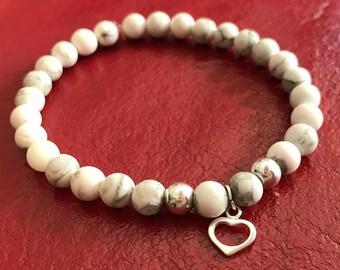 Bracelet de Pierres blanches semi-précieuses et argent 9.25