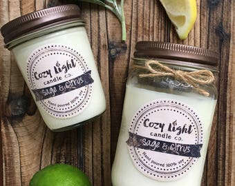 Sage & Citrus Soy Candle | Mason Jar Candle | Hand Poured