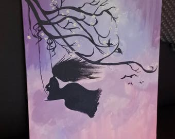 Girl on swing acrylic painting on canvas