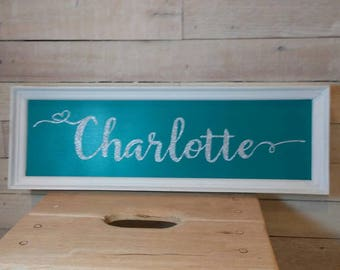 PERSONALIZED GLITTER NAME Sign - Nursery Decor - Kids Room - Baby's Room Wall Decor - Girl's Room - Girl Gift -