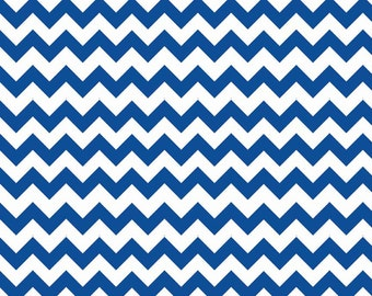 Riley Blake Designs Basic Chevron Small Royal Blue and White Flannel F360-27