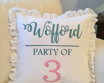 Personalized name pillow, Family last name, Party of, Keepsake, Special gift