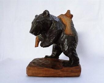 E0012 : Japanese Higuma bear nice and rare AINU Hokkaido carving wood bear