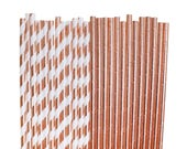 Rose Gold Paper Straws, Rose Gold Bridal Shower, 1st Birthday party, Rose Gold Party Decorations, baby shower, glam wedding, copper bronze