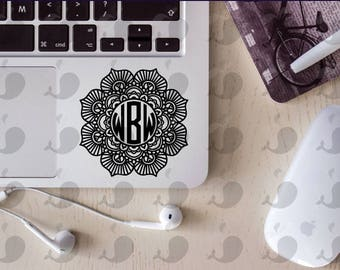 Mandala Monogram Decal, Monogram Decal