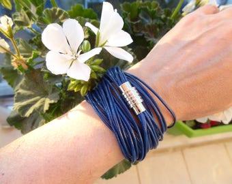 EXPRESS SHIPPING,Multi Strand Bracelet,Dark Blue Leather Look Rope,Wrap Bracelet,Blue Bracelet,Gift For Her,For Him,Mother's Day Gift