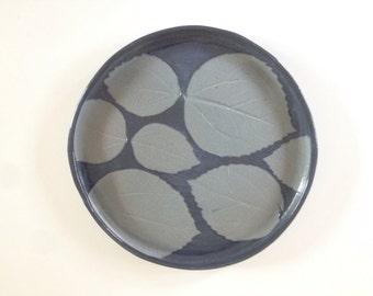 Handmade Ceramic Blue Leaf Plate - Small Platter - 9.5 Inch Serving Plate