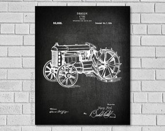 Tractor Art - Tractor Print - Tractor Decor - Farm Decor - Tractor Blueprint - Tractor Diagram - Vintage Farm Art - Rustic Farm Decor CA898