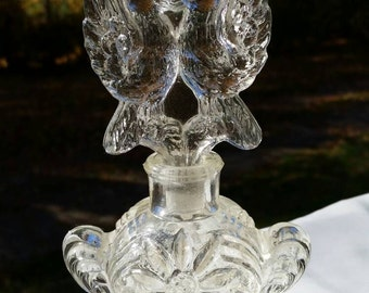 Vintage love birds perfume bottle etched glass refillable