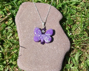 Purple butterfly pendant, polymer clay art, purple and silver, sterling silver, abstract pattern necklace, butterfly gift, Swarovski®crystal