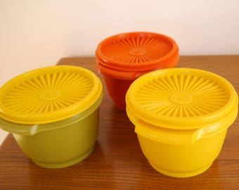 3 X vintage stacking Tupperware Servalier bowls, containers