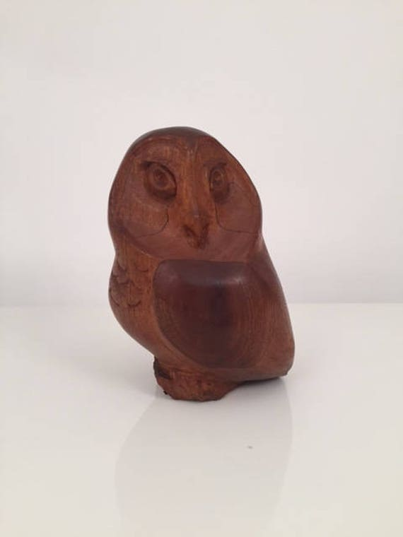 Signed Mid-century Vintage owl all carved wood