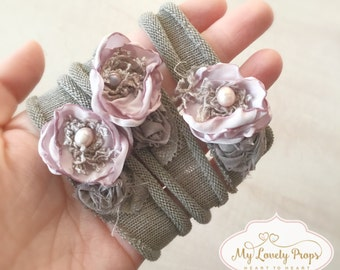 Newborn flower headband-girl tieback-newborn headband-newborn girl props-newborn prop-newborn baby props-photography prop-girl headband