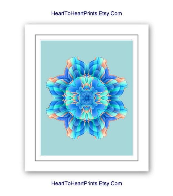 Mandala Flower Wall Art Floral Blue Aqua Teal Turquoise Wall