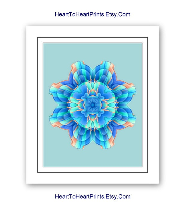 Teal Flower Wall Decor : Mandala flower wall art floral blue aqua teal turquoise