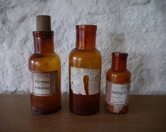 Lot of 3 old medicinal bottles