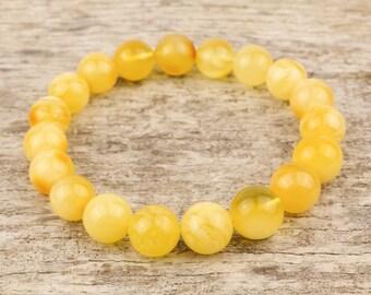 Free shipping | Baltic Amber Round Bead Bracelet | Beaded amber jewelry | Yellow Matt colour bracelet | Round beads | AV0262