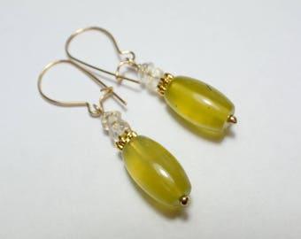 Green Jade Earrings, Citrine Jade Earrings, dangle Earrings, handmade artisan jewelry, 12ct gold filled,