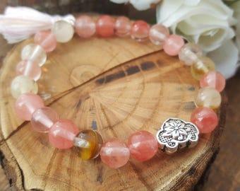 Mala bracelet/  fire cherry quartz bracelet/ lotus beads/  beaded bracelet/ boho bracelet/ energy bracelet/  gift for her/yoga bracelet