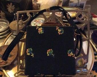 Vintage purse, vintage evening bag, vintage handbag, 1960's purse, black purse, floral purse