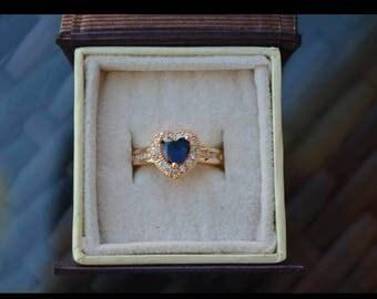 18k Gold plated Aquamarine Heart Ring