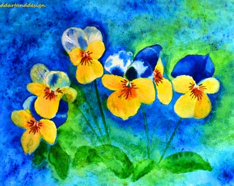 Abstract Pansies. Limited edition print from original painting.Water colour crystals and acrylic