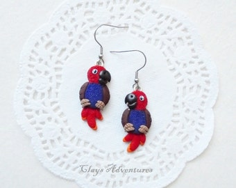 Parrot funny earrings eclectus handmade from polymer clay.
