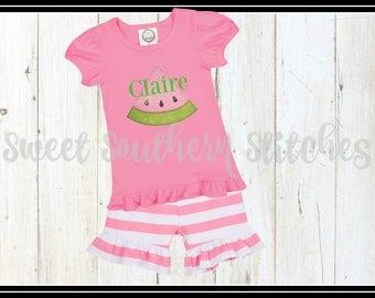 Monogram Watermelon Tshirt / EMBROIDERED / Girls Ruffle Watermelon Tee / Girls Monogram Watermelon Tee / Girls Summer Tee
