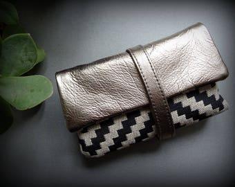 Blague a tabac cuir naturel et textile / Tabatière / étui / pochette / trousse / pour cigarettes roulées idée cadeau homme femme / marron