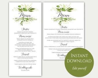 Wedding Menu Template, 5x7, 4x9, Wedding Menu Cards, Menu Cards, Editable Menu, PDF Template, Greenery Menu, Party Menu, Printable Menu