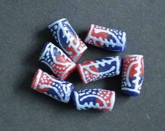 Recycled Glass Beads African Ethnic Ghana Krobo Tubes 15 mm Navy Blue Handmade 7 Pack for Jewellery & Crafts