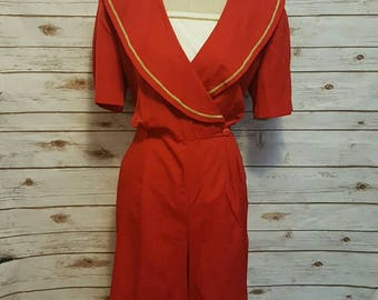 "Vintage, 1980's, John Roberts red ""sailor"" romper, XL"