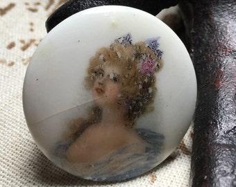 Antique Heirloom Ceramic/Porcelain Transfer Portrait Brooch