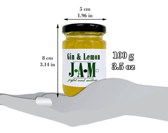 Gin & Lemon JAM Spread 100g. Gin lover. Valentine's Day Gift. Unique Birthday Gift. Unique gift. Gift for friend. Gin Gift.