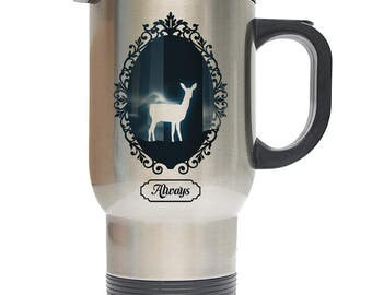 """Harry Potter Snape """"Always"""" Inspired 14oz Travel Mug, Silver Stainless Steel Perfect Gift!"""