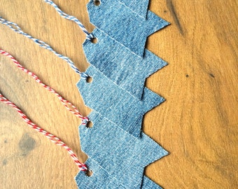 Denim Gift Tags, 6 Piece, Recycled Denim Tags, Blue Party Favor Tags, Denim Party Supply, Rustic Gift Tags, Fabric Gift Tags, Blue Gift Tags