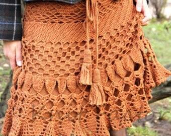 Women Crochet skirt, Mermaid crochet pencil skirt, Bohemian skirt, Flared crochet skirt,  Handmade chic women skirt