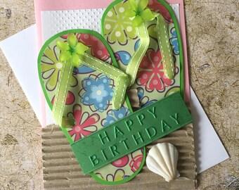 Handmade Flip flops birthday card