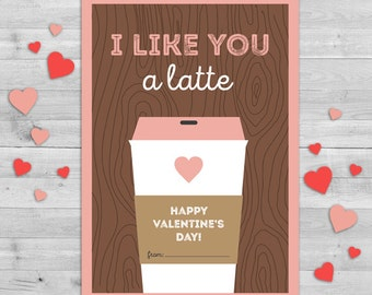Coffee Valentines Day Card, Classroom Valentines Cards, Valentine Gift Tags, Classroom Valentines Cards PRINTABLE, Kids Valentines Cards DIY