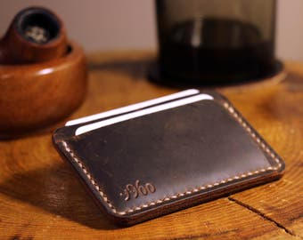 Personalized Card Holder, Leather Front Pocket, 3 Pocket, Credit Card Holder, Leather Gift For Him, Minimal Pocket Wallet, Card Holder Case