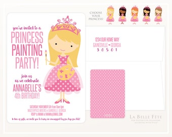 PRINCESS PAINTING PARTY Birthday Party invitation